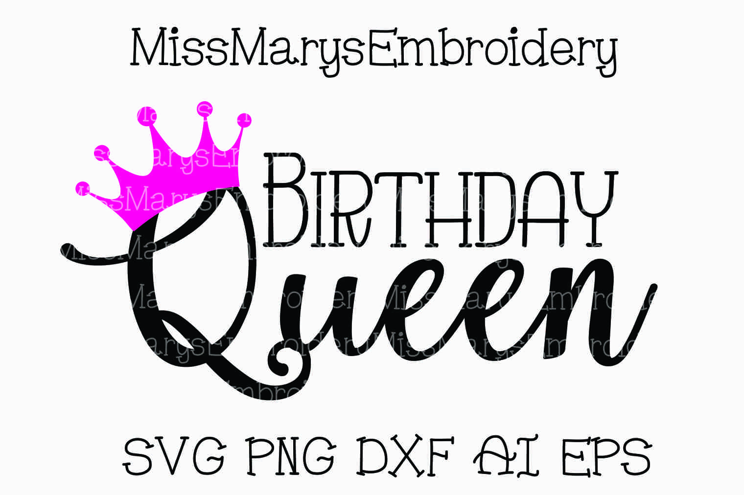 Birthday Queen by Miss Mary\'s Embroide | Design Bundles