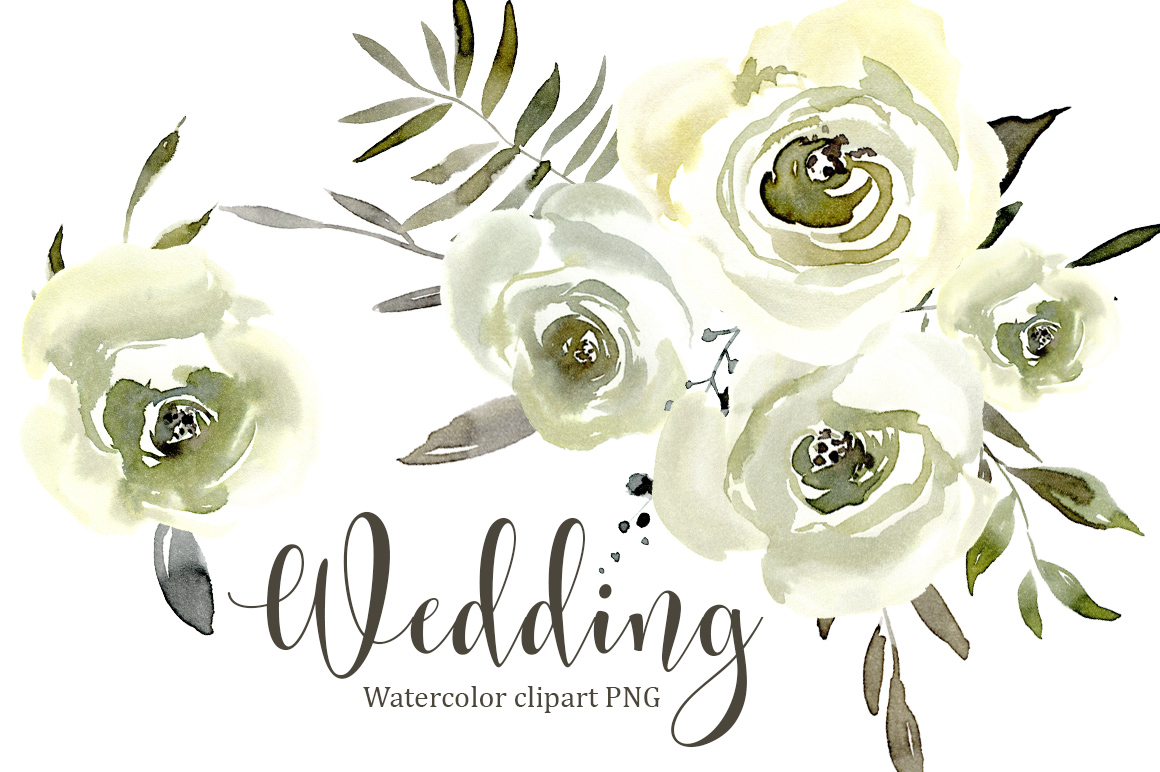 Watercolor white roses flowers png set design bundles watercolor white roses flowers png set example image 1 mightylinksfo