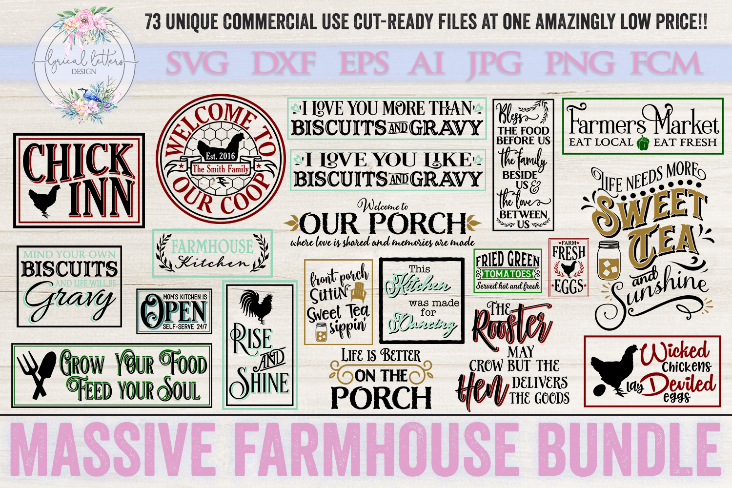 Farmhouse Bundle of 73 SVG DXF FCM AI EPS JPG and PNG Files example image 2