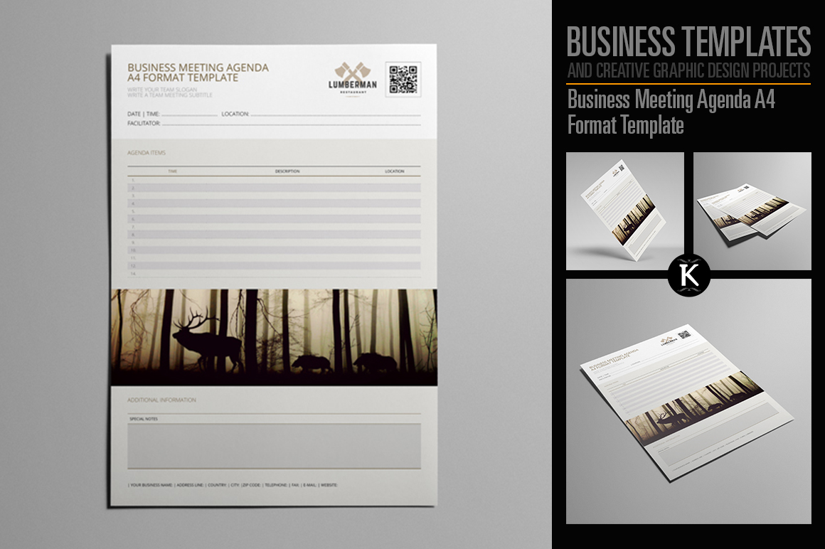 Business Meeting Agenda A4 Format Template example image 1