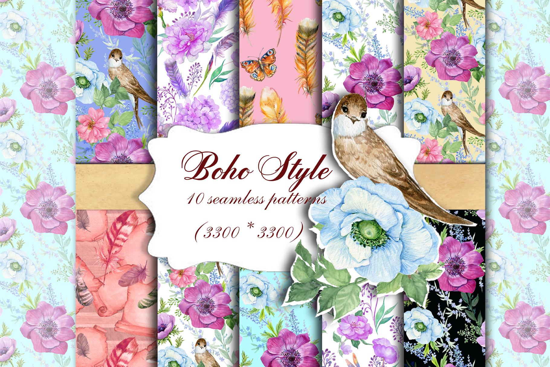 Boho Style Seamless Patterns Decorative Paper, Seamless Pattern,Scrapbooking ,Watercolor Pattern,Flowers