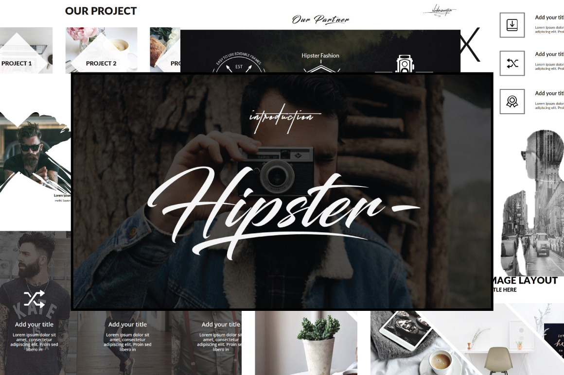 Hipster v.2 Powerpoint Template by Ones | Design Bundles