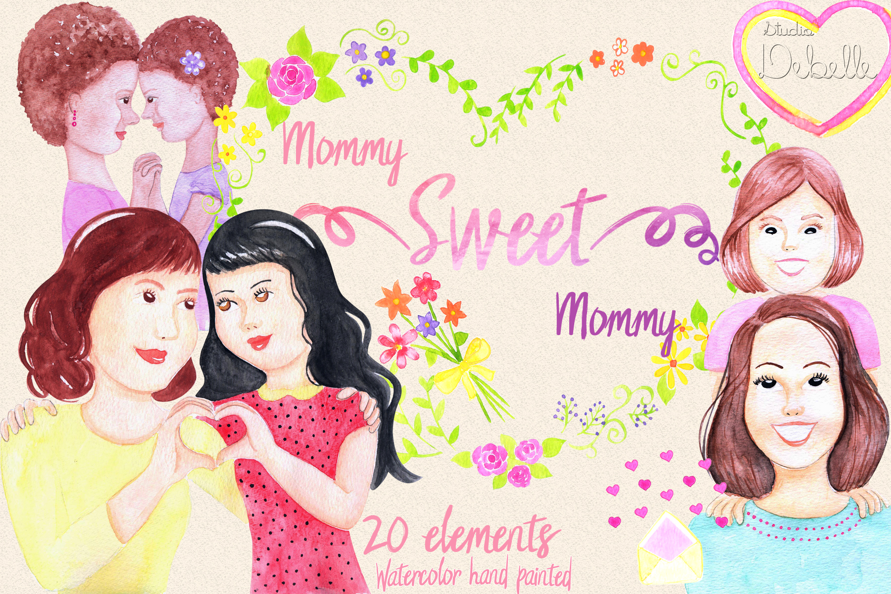 MOMMY SWEET MOMMY - watercolor handmade clipart collection - 20 elements example image 1