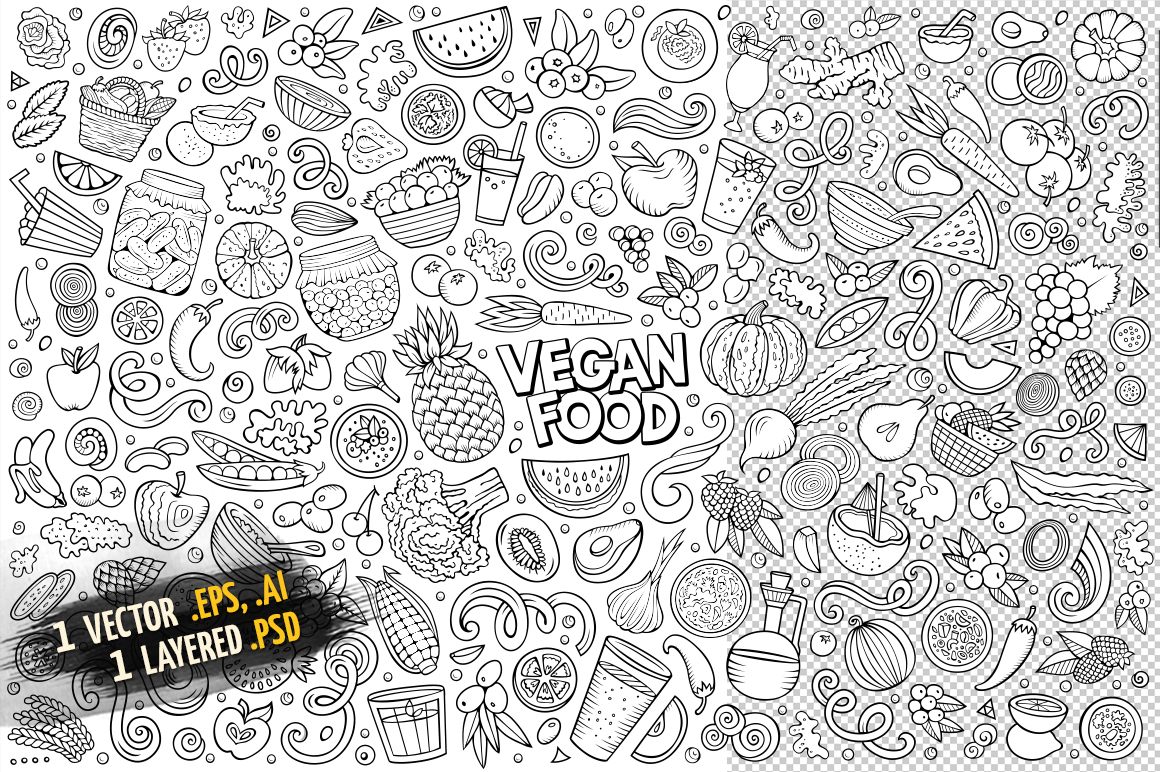 Vegan Food Objects & Elements Set example image 3