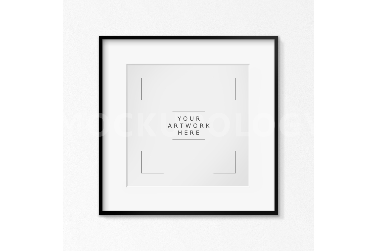 SQUARE Digital Black Frame Mockup, White Wallpaper Background, Styled Photography Poster Mockup, Framed Artwork Mockup, INSTANT DOWNLOAD example image 1