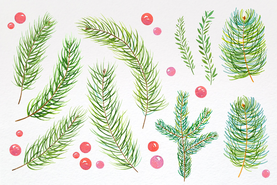 Christmas. Watercolor illustrations. example image 6