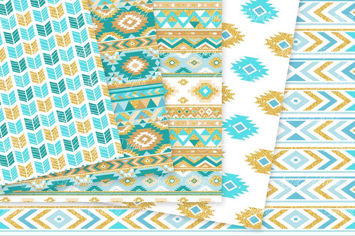 Turquoise and Gold Glitter Boho Seamless Patterns example image 3