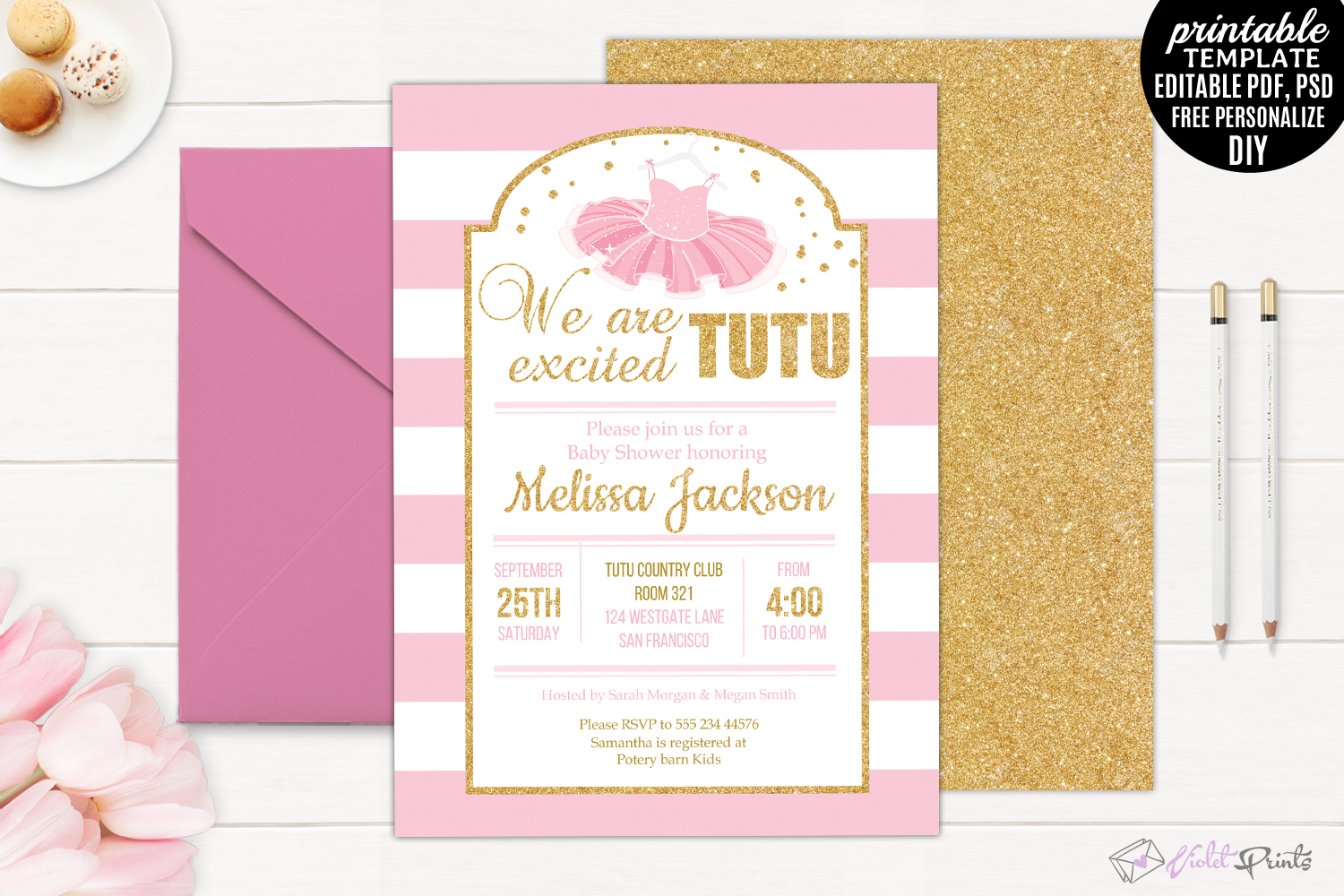 measurements x princess and baby showers ba pink invitations invitation shower ideas throughout gold