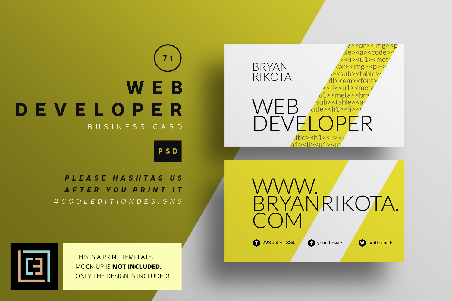 Web developer business card bc071 by design bundles web developer business card bc071 example image 1 reheart Image collections