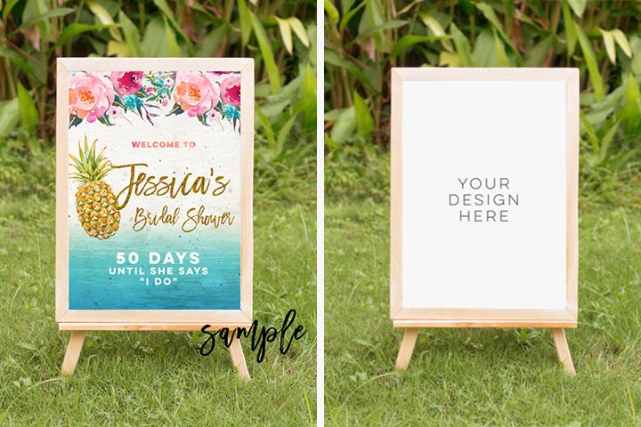 tropical summer mock up, summer mock up frame, summer wedding party frame, digital frame sign, landscape mock up, vertical mock up, PSD example image 1