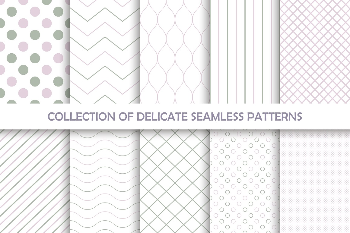 Delicate seamless vector patterns example image 6