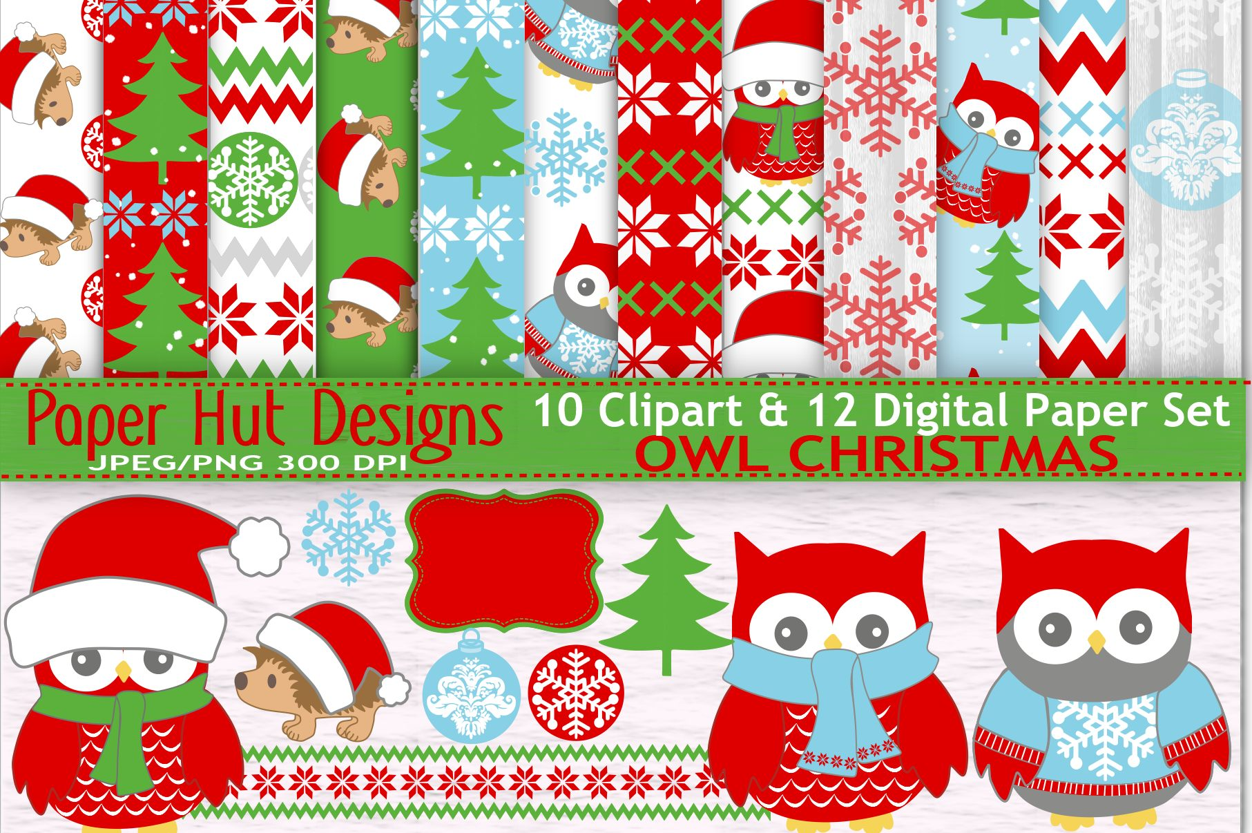 Christmas Owl Clipart And Digital Papers Set Example Image 1