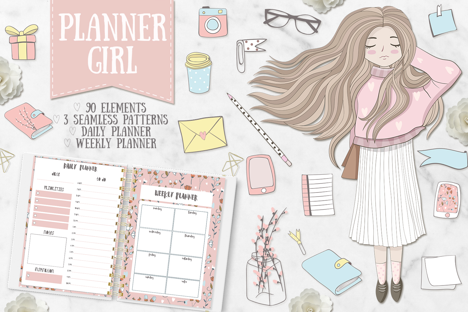 Planner Girl Clipart. Weekly & daily example image 1