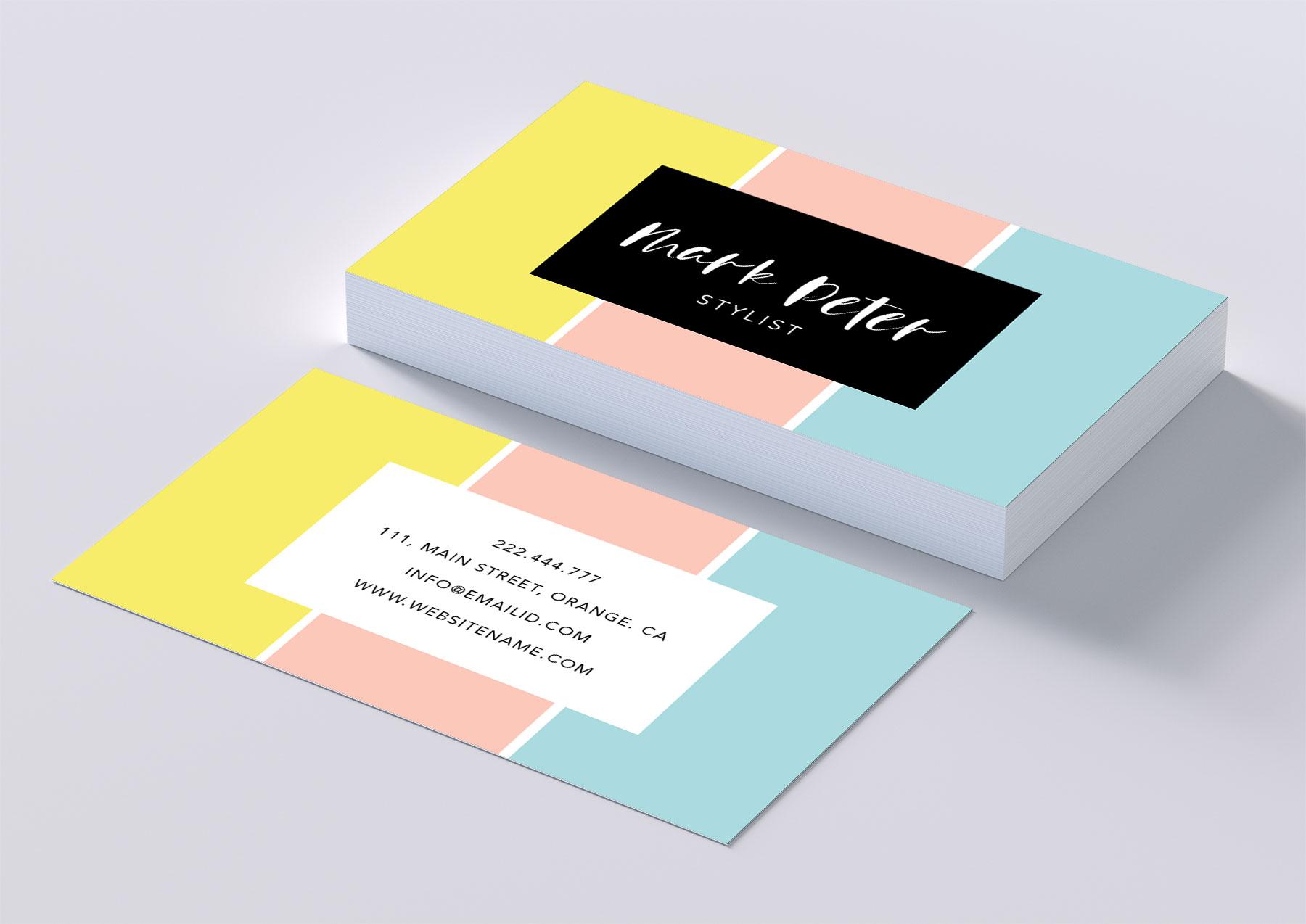 Pastel color professional business card | Design Bundles