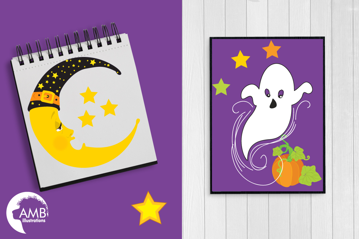Whispy Halloween Ghosts clipart, graphics, illustrations AMB-142 example image 4