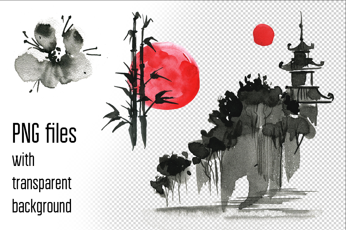Sumi-e. Japanese ink painting example image 2