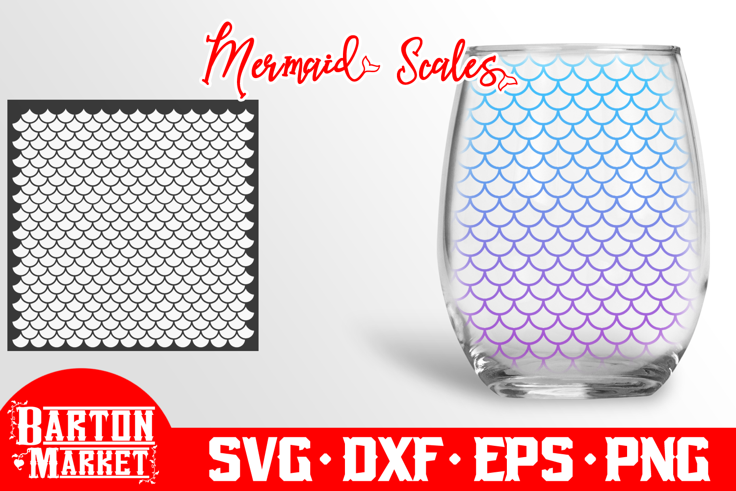 Mermaid Scales SVG DXF EPSPNG example image 1