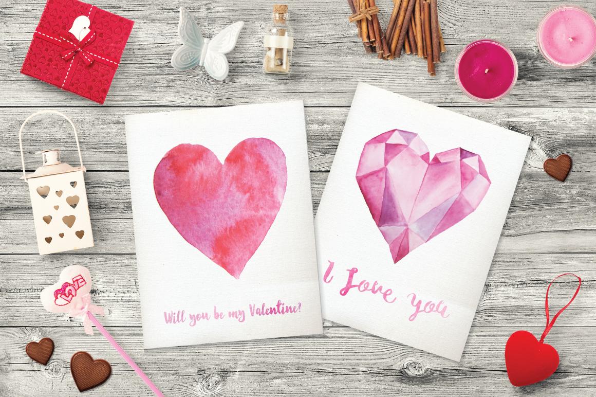 10 Watercolor Hearts Clip Art example image 4