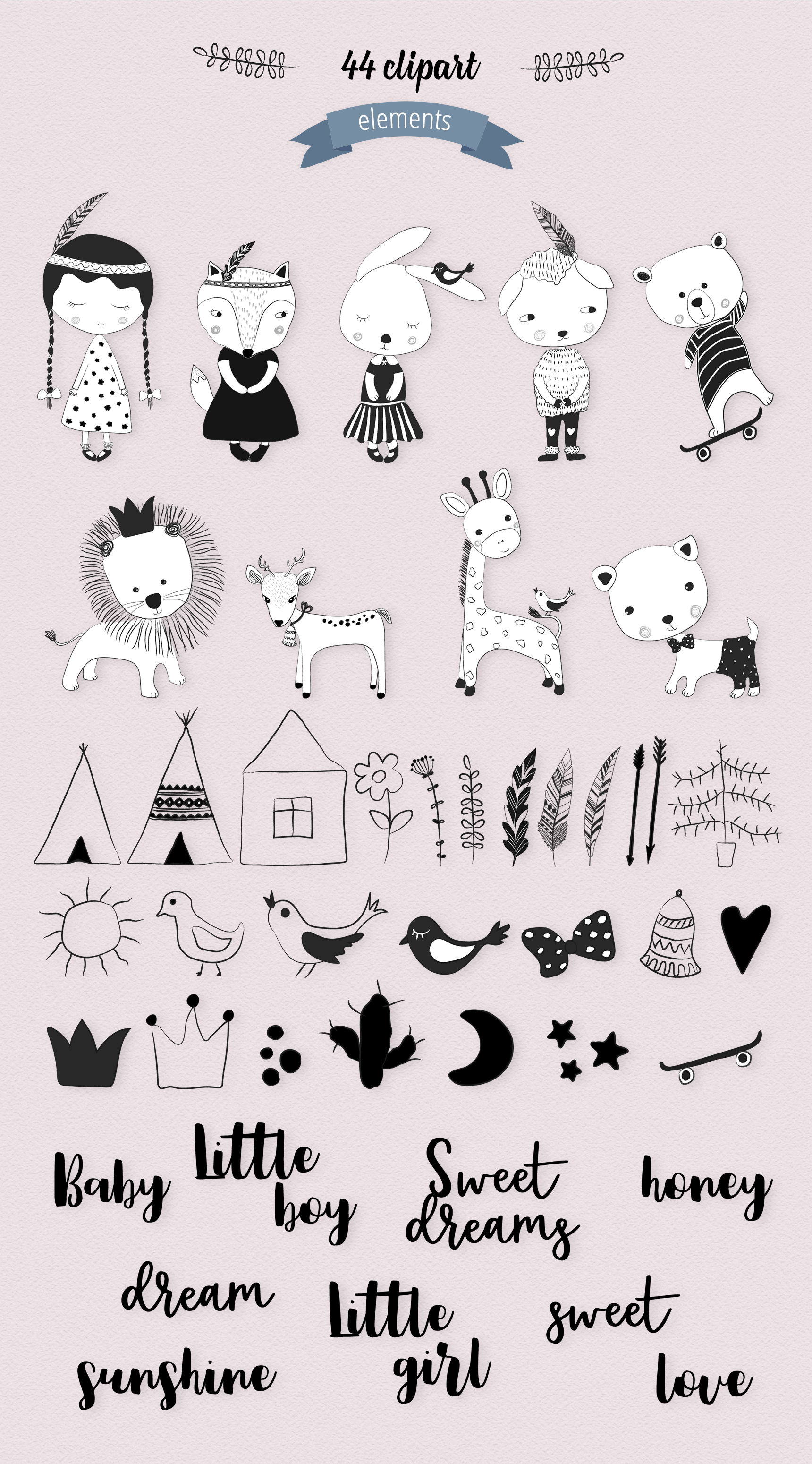Black & White Kids Illustrations example image 4