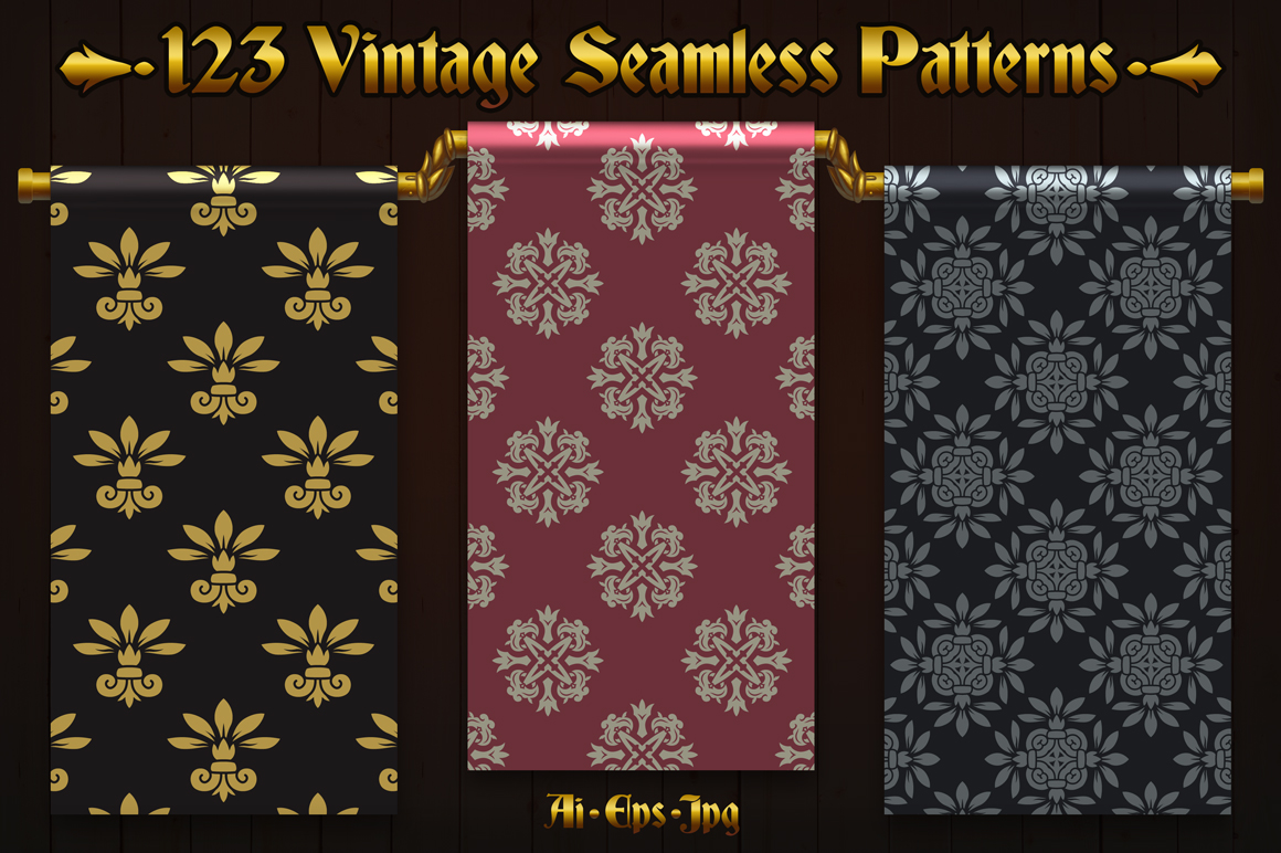 123 Vintage Seamless Vector Patterns example image 2