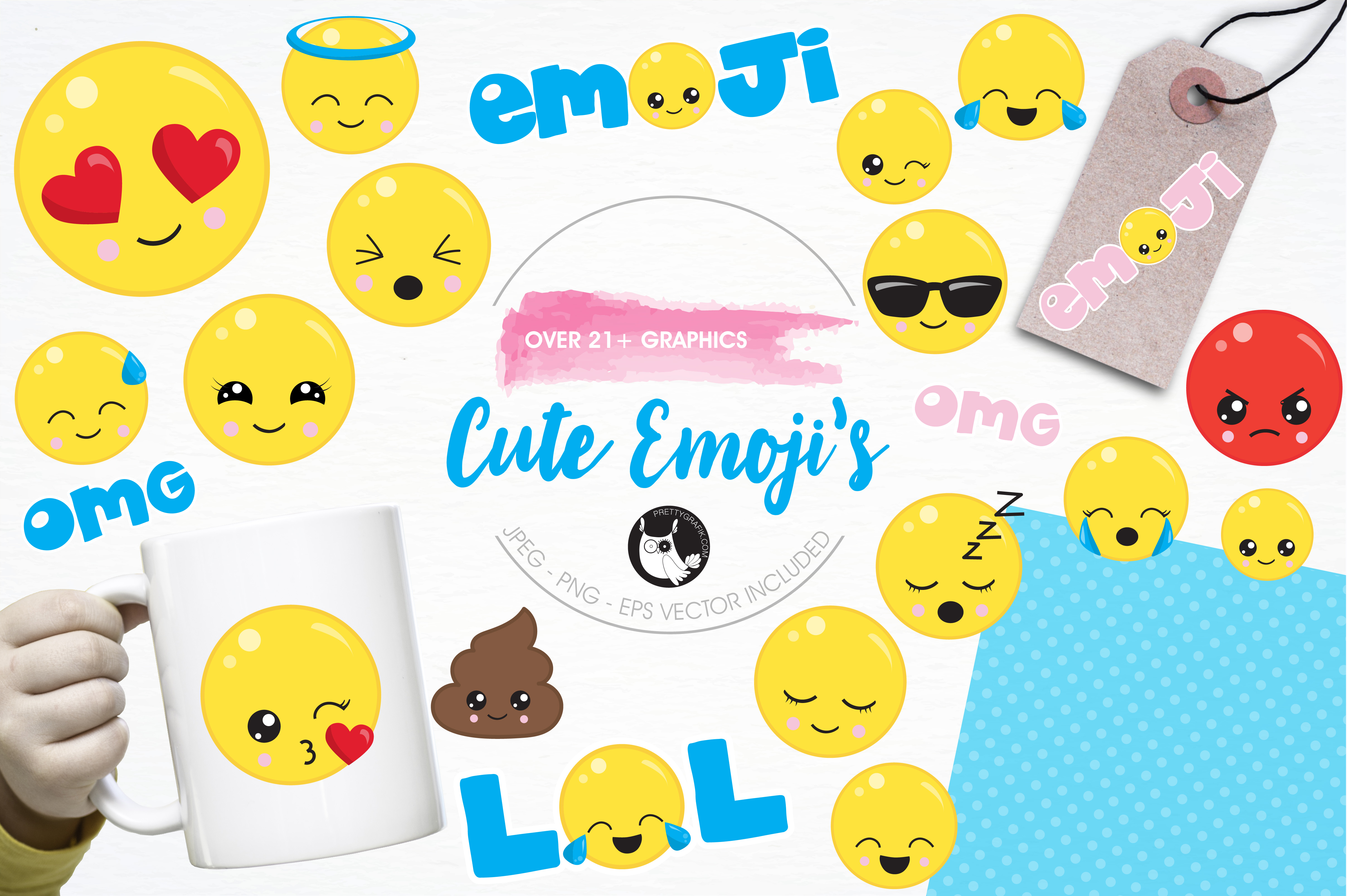 Cute emoji graphics and illustrations example image 1