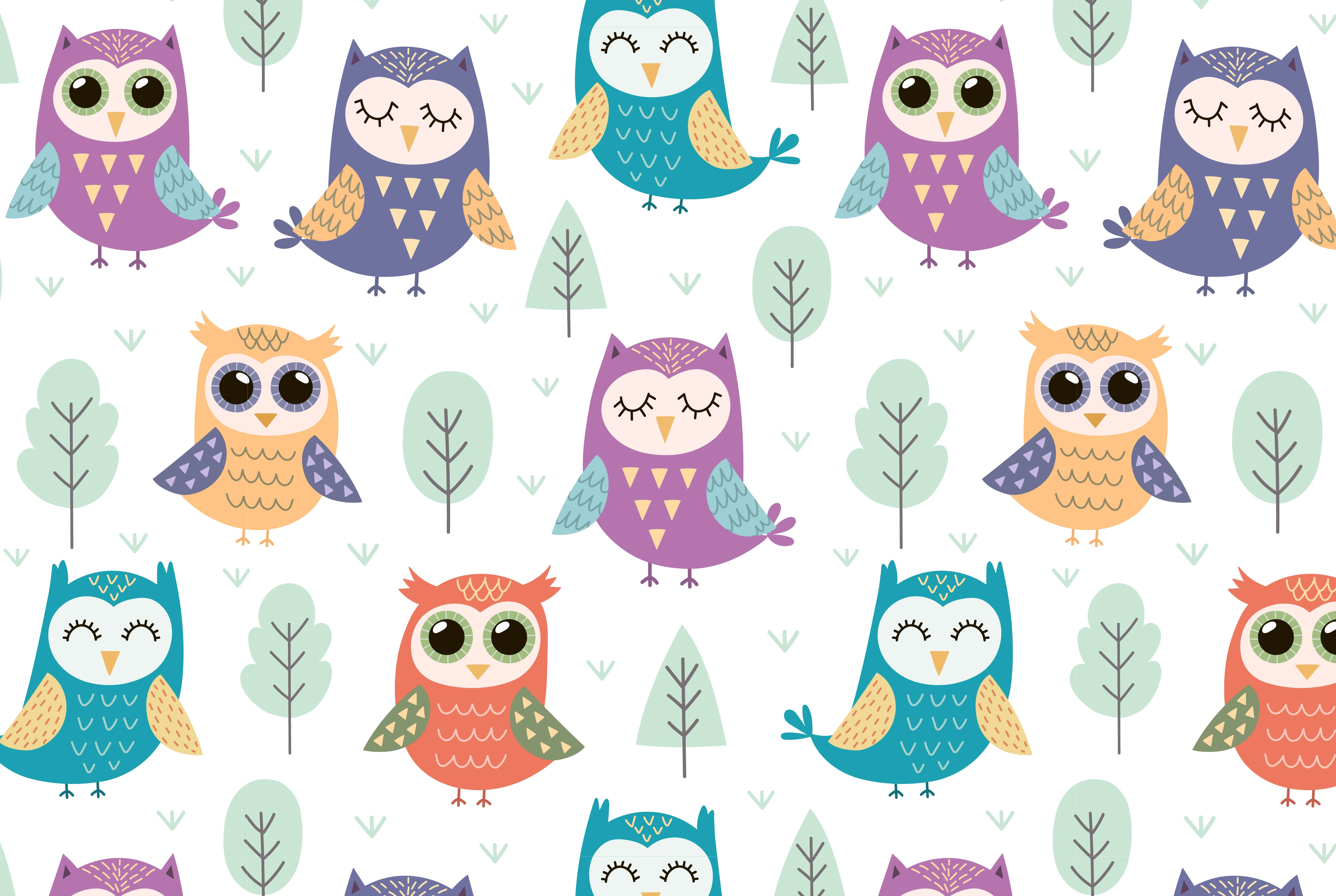 Owl Tales: seamless pattern & elements example image 2