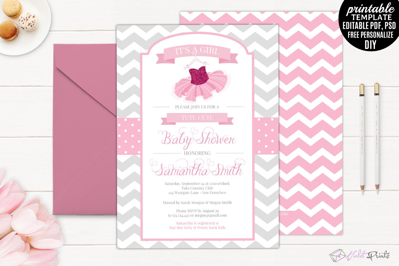Tutu Baby Shower Invitation Template Pr Design Bundles