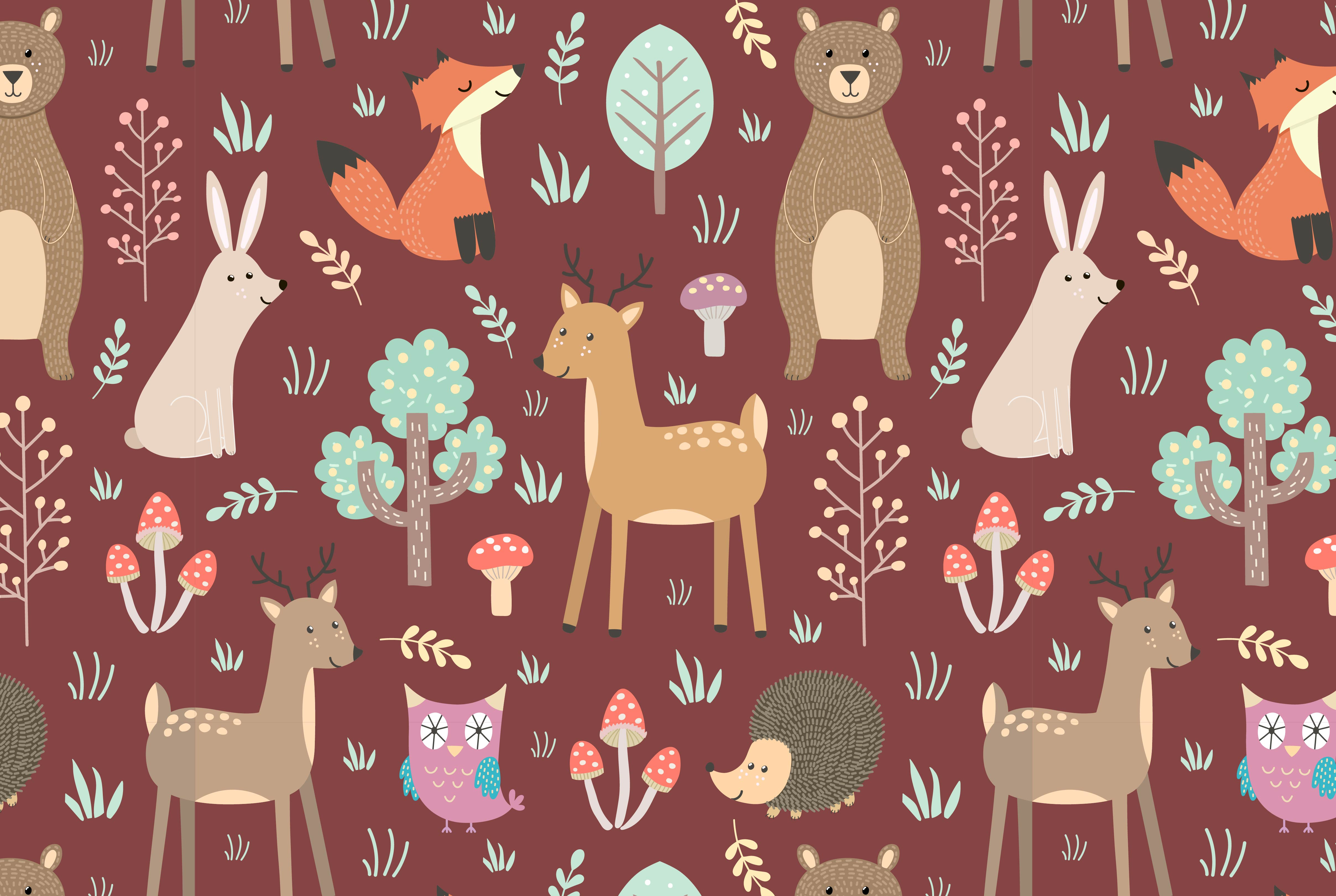 Forest: seamless pattern & elements example image 3