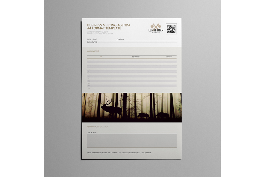 Business Meeting Agenda A4 Format Template example image 5