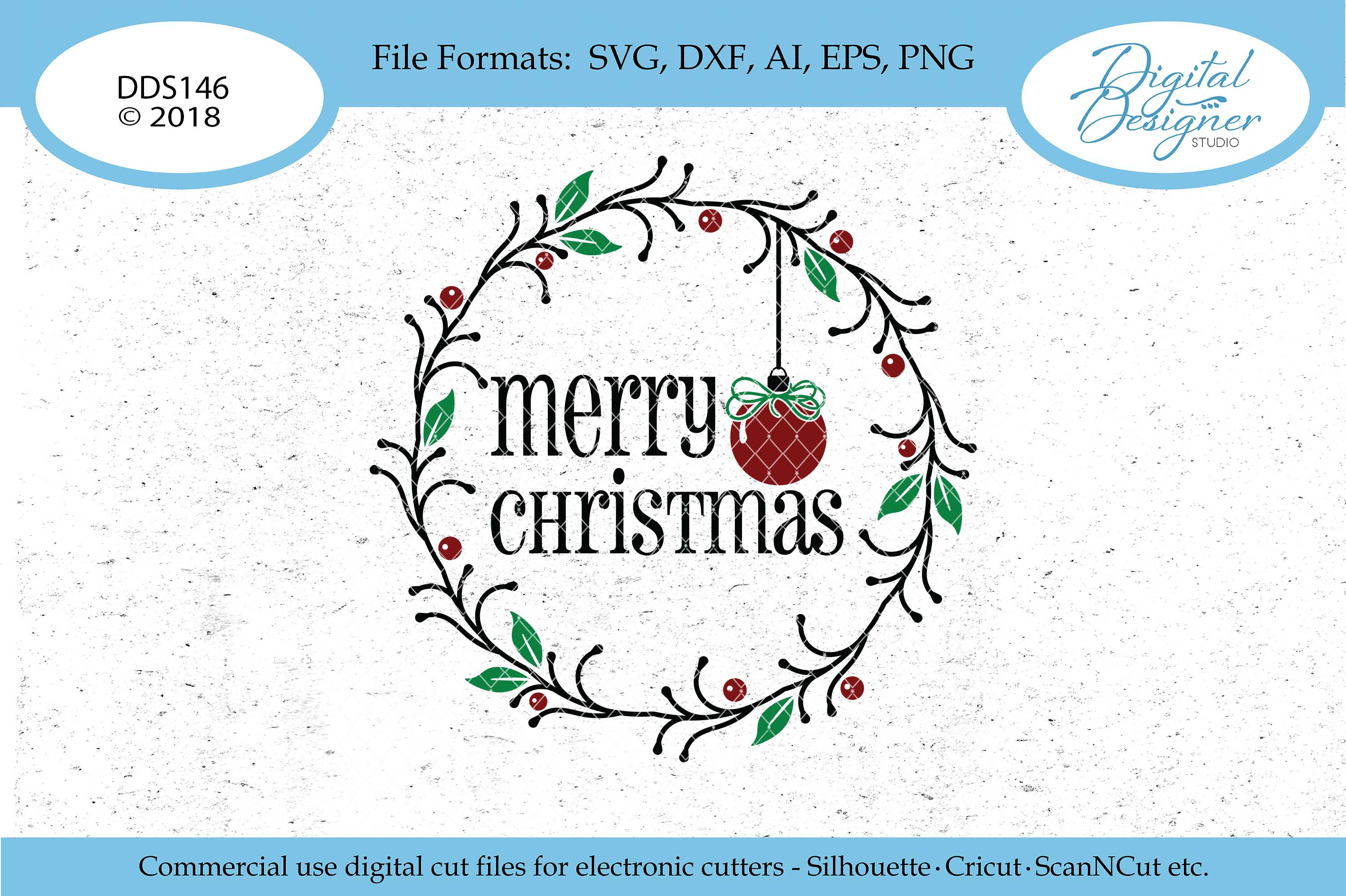 Merry Christmas Wreath & Ornament Svg Dxf Png Eps Cut