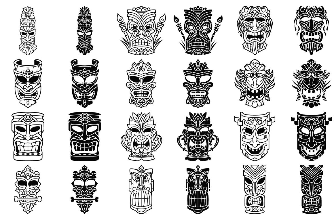 Tiki Head Illustrations Set example image 5