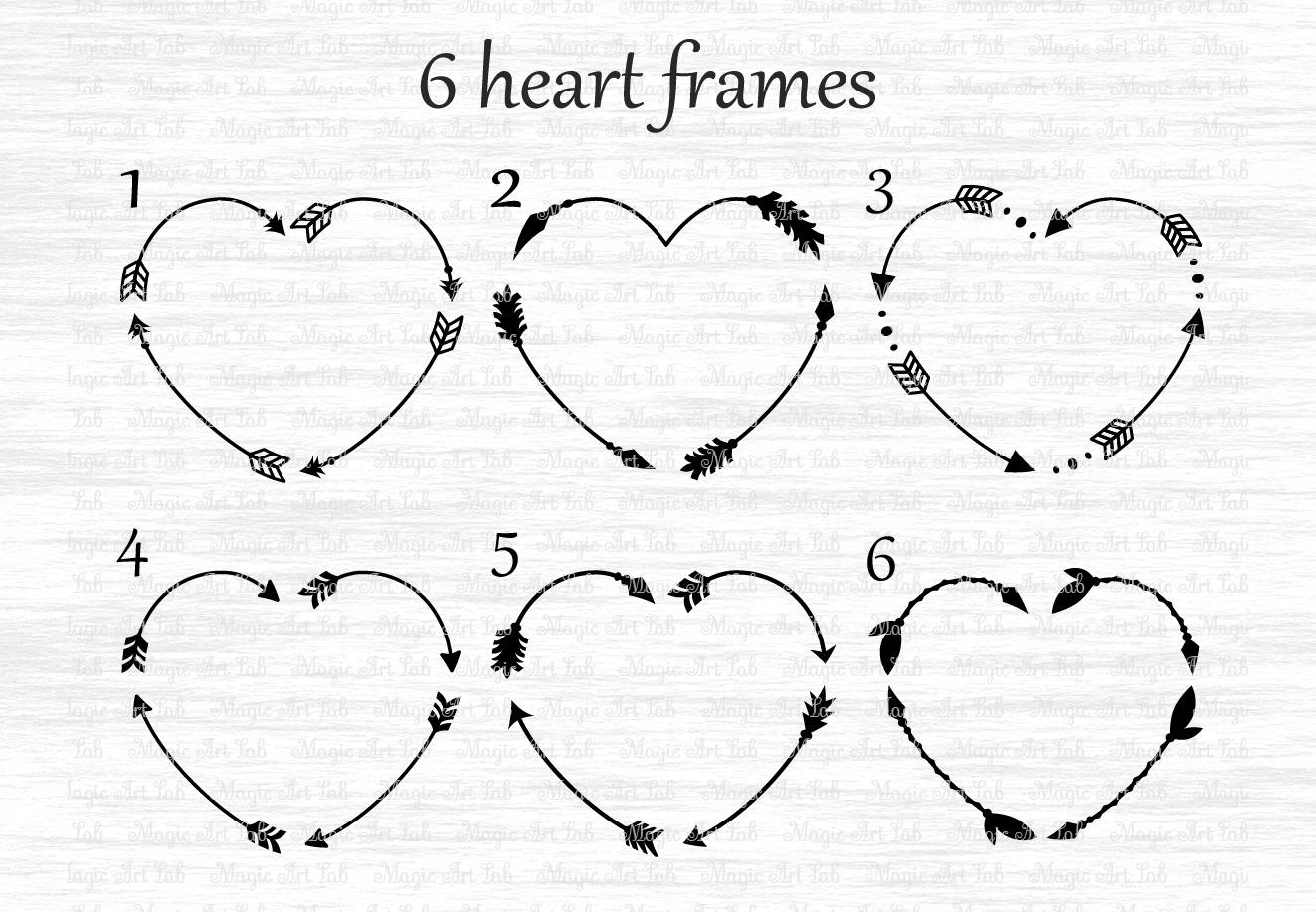 Vector Monogram Frame Arrows Hearts Free Photos