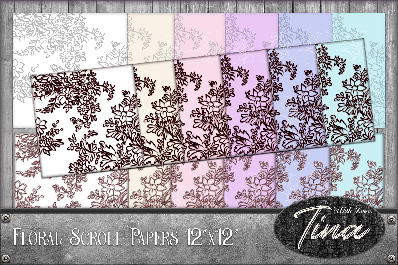 Floral Scrollwork, Ironwork, Scrolls, Digital Download For Cards, Paper, Invitations