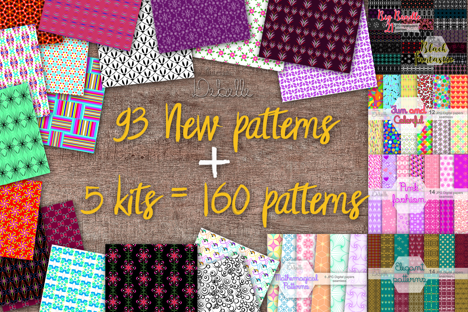 MEGA BUNDLE 160 Seamless Patterns Digital Paper example image 2
