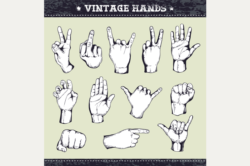 Vintage Hands | Vector Icons example image 4