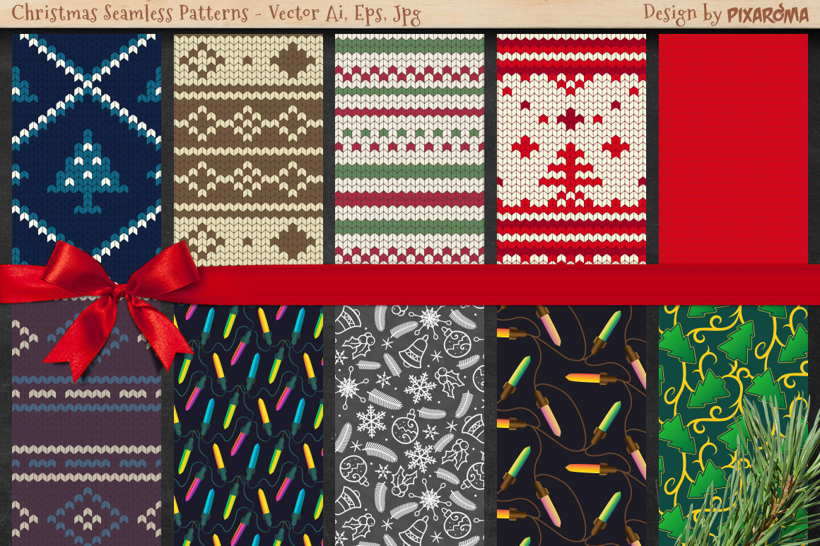 50 Christmas Seamless Patterns example image 3