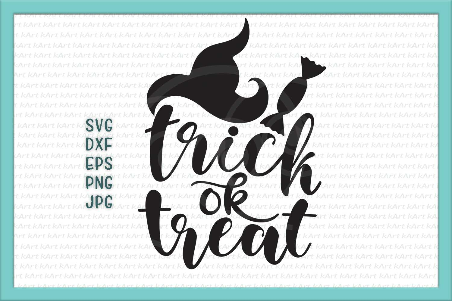 trick or treat svg, Halloween Svg files, Svg cut files, Spooky Svg, Fall svg, witch hat svg, Svg commercial use, Cute svg, Handlettered svg example image 2