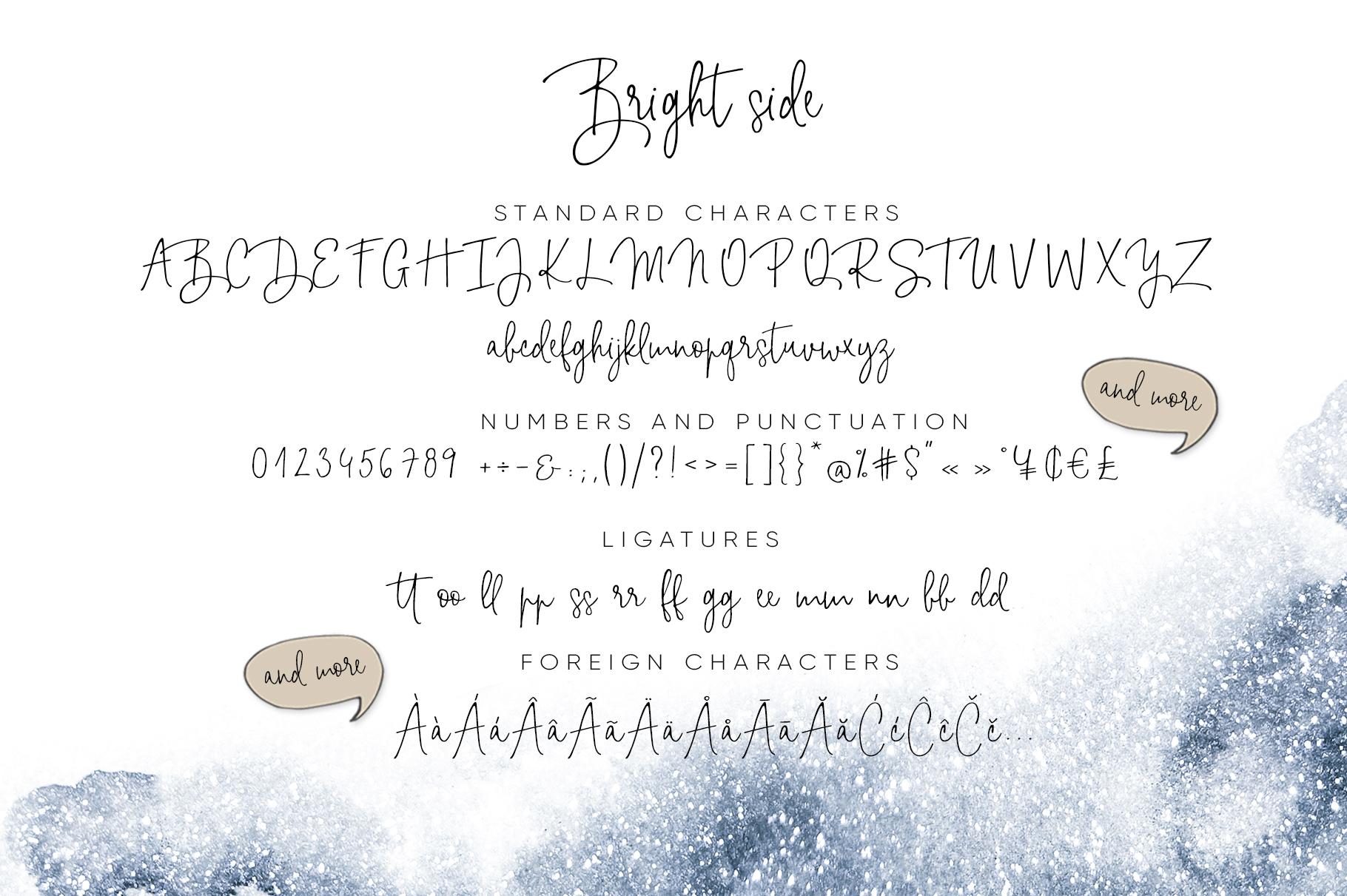 Bright side signature script font+ logos example image 5