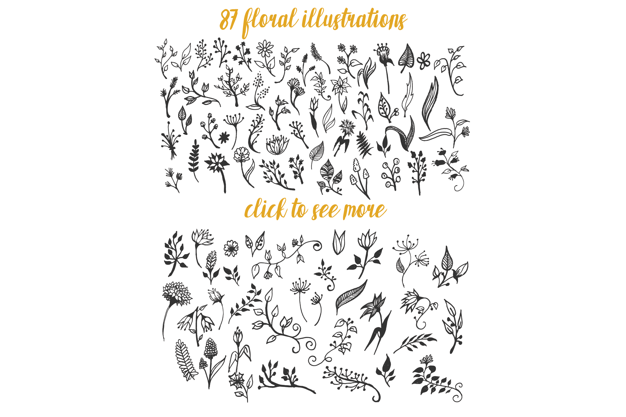 150 Hand-Drawn Floral Illustrations example image 2