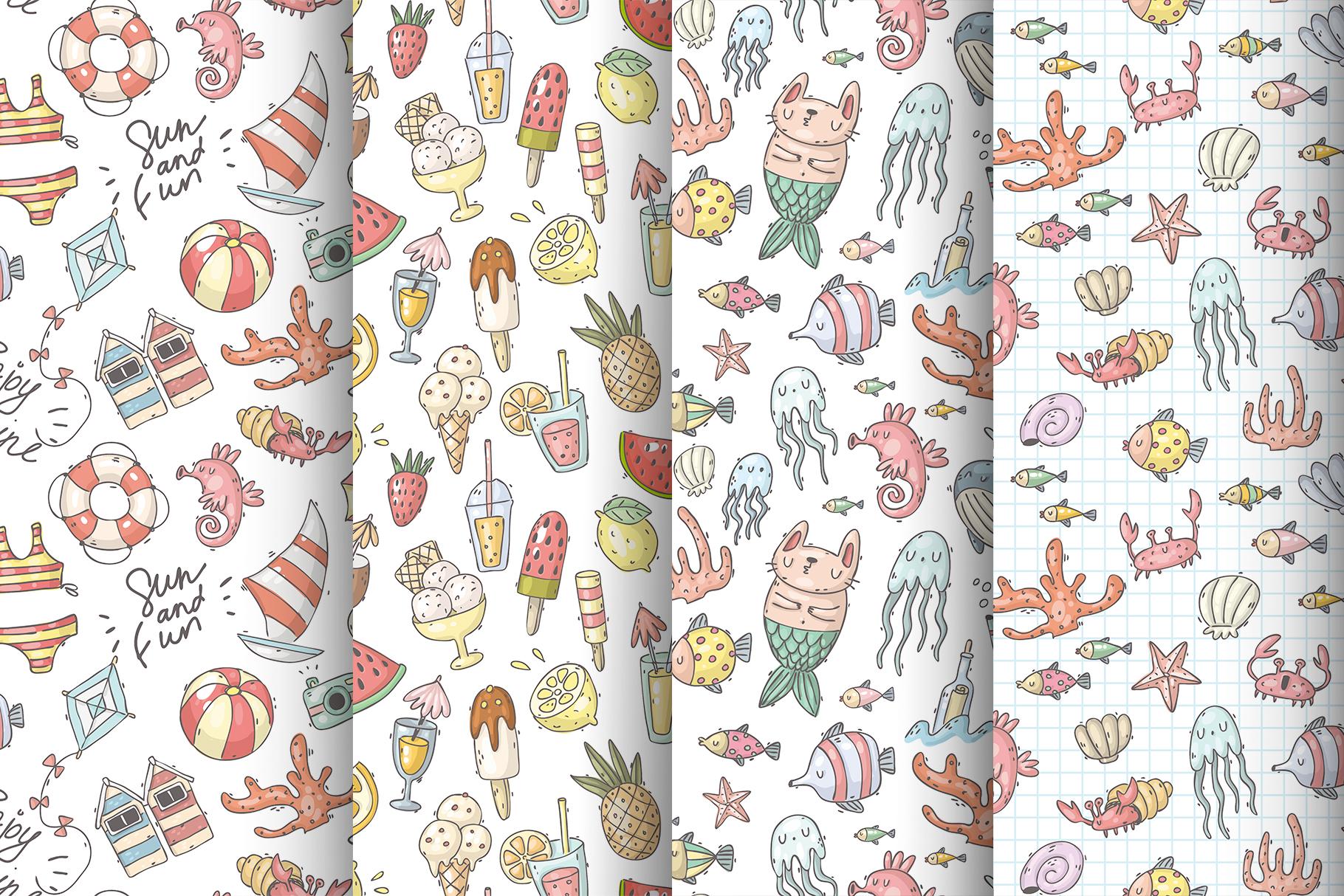 Big set of summer doodles example image 5