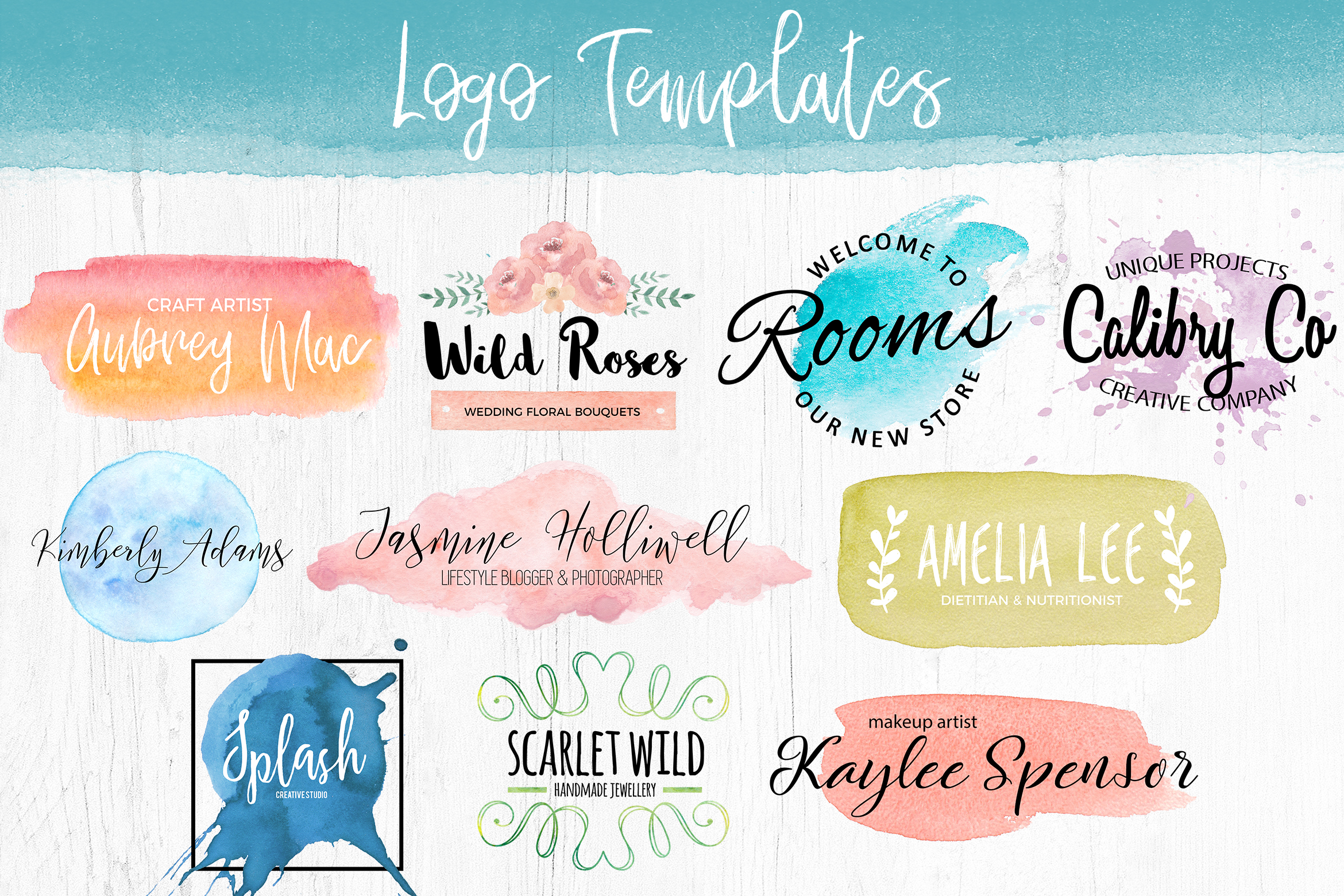 Watercolor Pack. Textures and Logos example image 6