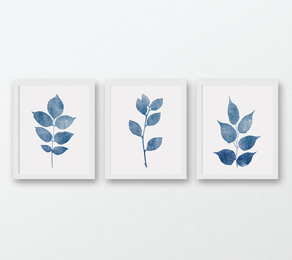 Navy blue wall art botanical wall art set of 3 wall art navy