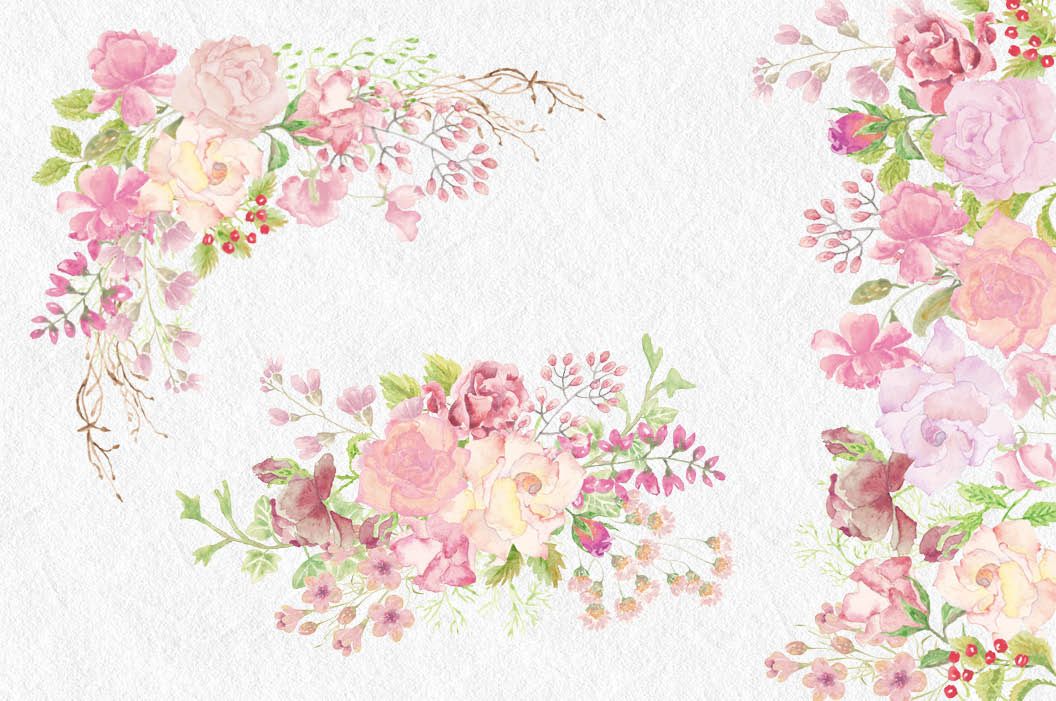Wedding clip art bundle in blush roses example image 4