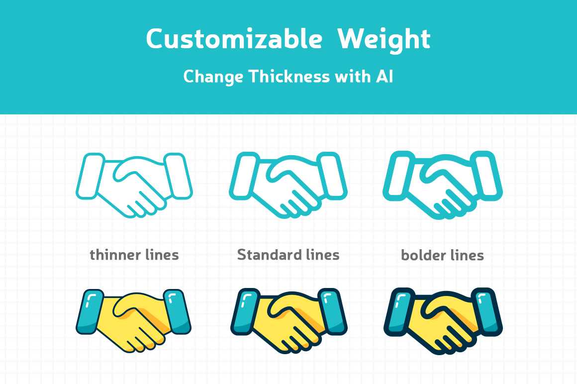 Customizable Outline Icons Set example image 2