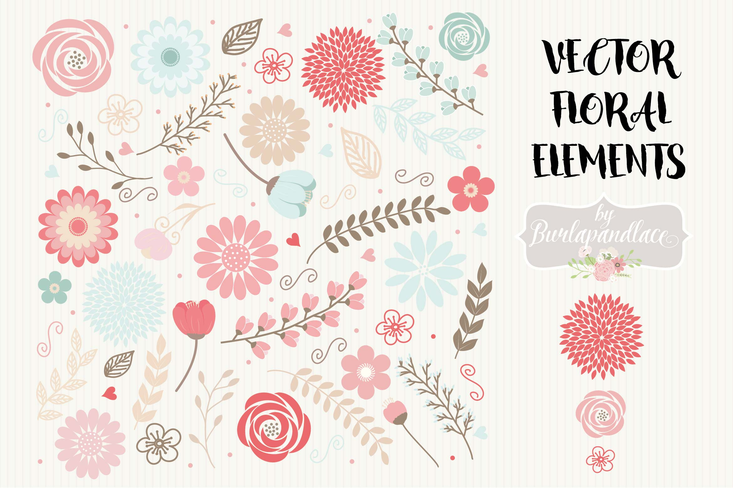 Vector floral elements clipart example image 1