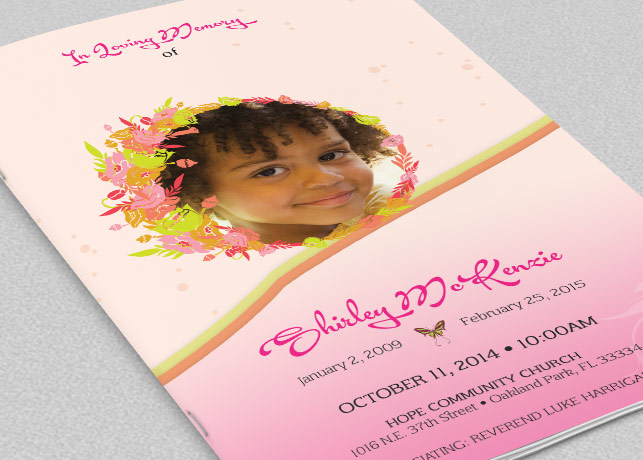 Pink Floral Funeral Program Template Example Image 1