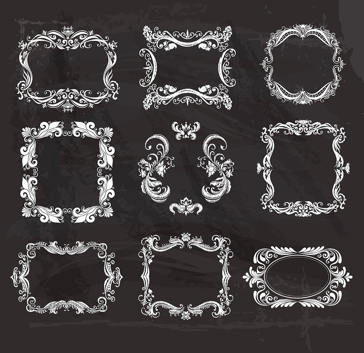 Set of vintage frames and monograms example image 12
