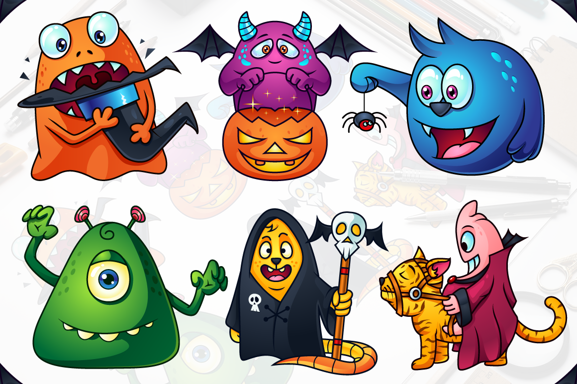 Cute Cartoon Monsters Set example image 1