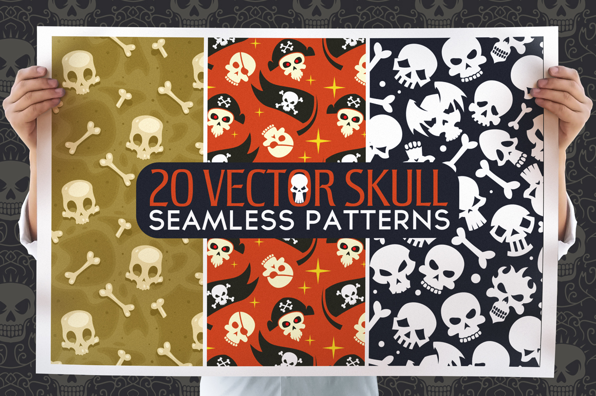 20 Skull Seamless Vector Patterns example image 1