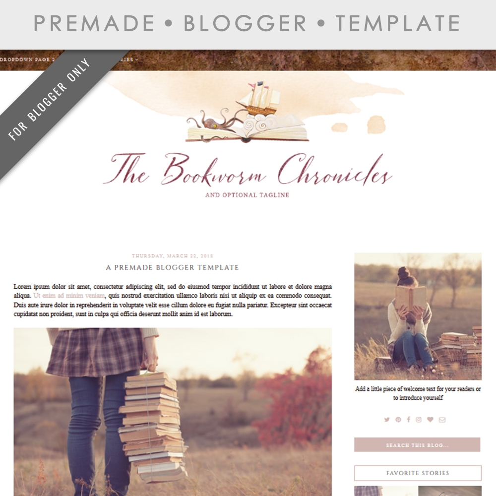 Premade Blogger Template - Mobile Respo | Design Bundles